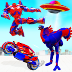 Flying Ostrich Robot Transform Bike Robot Games APK MOD 38